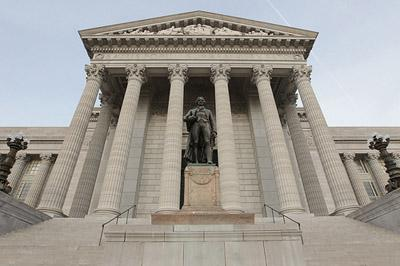 The Thomas Jefferson statue stands on the steps of the Missouri State Capitol Building in Jefferson City, Missouri on December 3, 2010. (Bill Greenblatt, UPI)