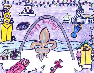 The winning design for St. Louis mayor Francis Slay's holiday card contest, designed by Pearl Dailey of Froebel Literacy Academy.