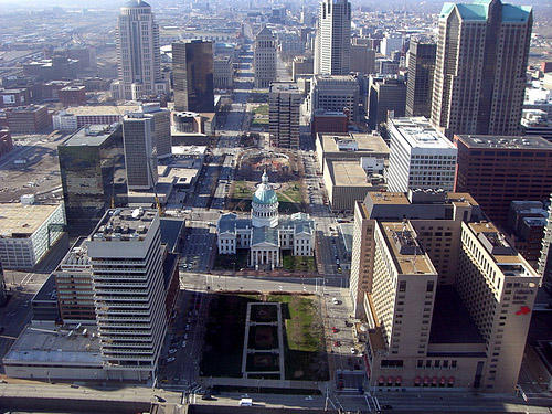An arial photo of downtown St. Louis. Employment rose in St. Louis this year, but not as much as it did nationally.