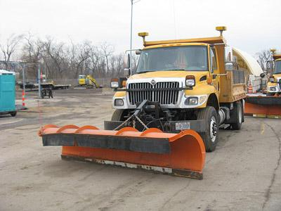A Missouri Department of Transportation snowplow is at the ready for this weekend's impending snow. (Rachel Lippmann, St. Louis Public Radio)