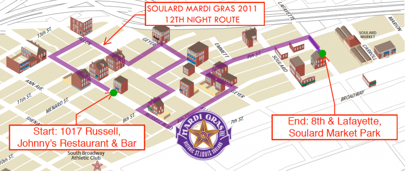 "A map of the route of the ""Grand Procession"" during the 12th night festivities in Soulard (via Mardi Gras, Inc.)"