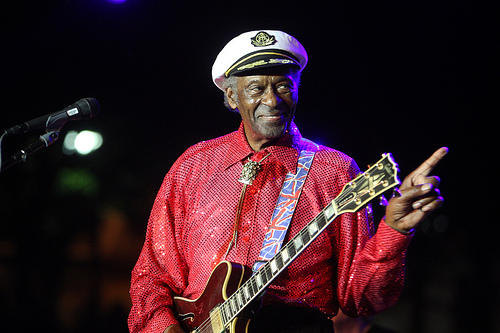 Chuck Berry performs at a free concert at Kiener Plaza in July. The rock-and-roll legend is on the mend after collapsing on stage in Chicago on Saturday.