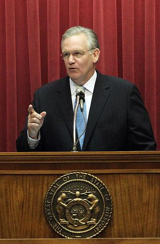 Gov. Jay Nixon delivers his State of the State address on Jan. 19. He was in St. Louis on Monday to push for an expanded scholarship he called for in that address