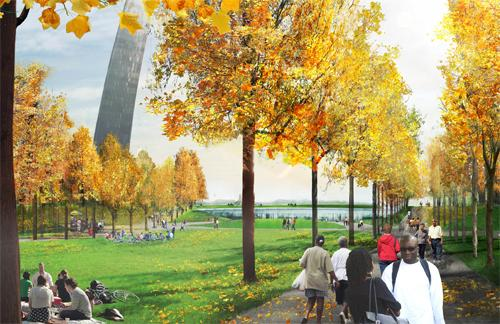 A preliminary visual depiction of Ely Smith Square - a part of the plans for the renovated Gateway Arch grounds by Michael Van Valkenburgh and Associates. (CityArchRiver website)