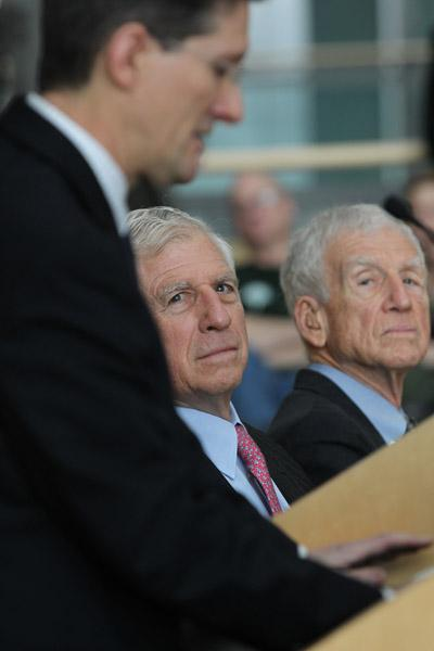 Dr. James Carrington, incoming president of the Donald Danforth Plant Science Center gives his remarks while former U.S. Senator John Danforth and his brother William Danforth (R) look on at the announcement of the ending of the Danforth Foundation.