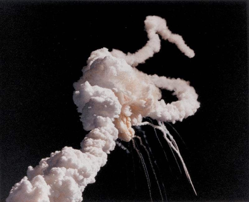 On January 28, 1986, the Space Shuttle Challenger and her seven-member crew were lost when a ruptured O-ring in the right Solid Rocket Booster caused the shuttle to break apart 73 seconds after launch. (NASA)