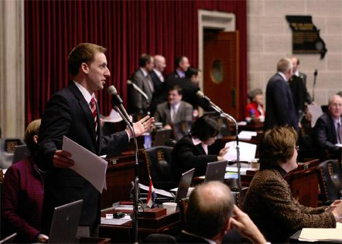 Democratic Rep. Jason Kander on the floor of the Missouri House of Representatives on Jan. 27, 2011.