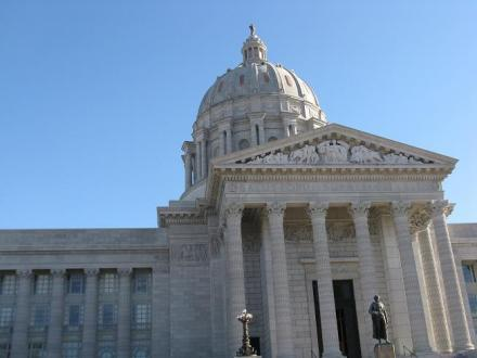 "The Missouri Capitol Building in Jefferson City, Mo. Legislative action here on Thursday by Sen. Jason Crowell would refer the ""right-to-work"" issue to voters next year."