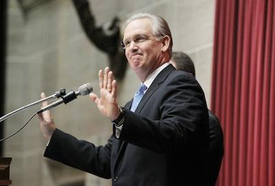 Missouri Governor Jay Nixon smiles as he is introduced before delivering the State of the State speech to the legislature in the House of Represenatives chambers at the Statre Capitol in Jefferson City, Mo. on Jan. 19, 2011. (UPI/Bill Greenblatt)