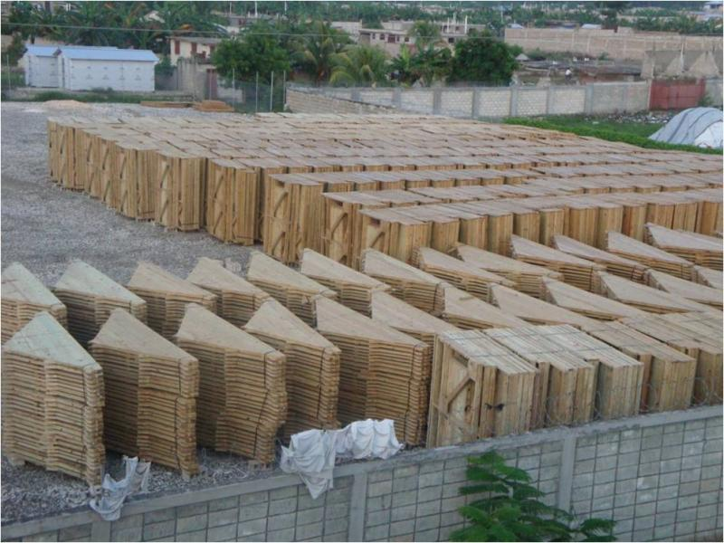Housing materials next to the tent camp in Leogane. (L. Iannotti)