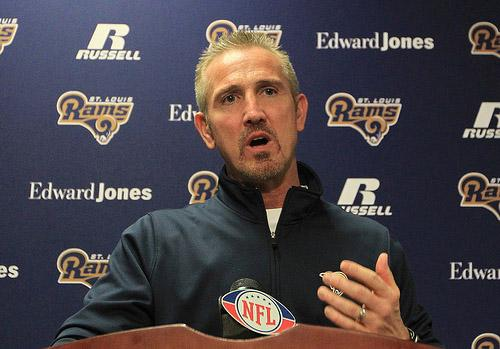 St. Louis Rams head coach Steve Spagnuolo during his final press conference of the season on January 3, 2011. Spagnuolo will lose his offensive coordinator, Pat Shurmur, who was hired by the Cleveland Browns as head coach today. (UPI/Bill Greenblatt)