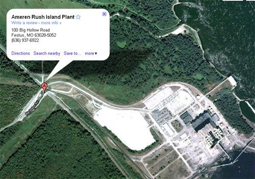 The location of the Ameren Rush Island power plant in Festus, Mo. Emissions violations at the plant are the topic of a lawsuit against Ameren Missouri filed today by the U.S. Department of Justice in St. Louis, Mo. (Google Maps)