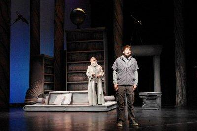 "Jonas (Christian Probst) and The Giver (Nick Kryah) in ""The Giver,"" from Metro Theater Company and The Edison Theatre at Wash U"