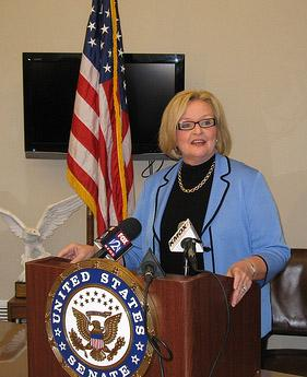 U.S. Senator Claire McCaskill at a press conference in St. Louis on Jan. 18, 2011. McCaskill spoke on a variety of topics including secret holds, St. Louis' chances to host the 2012 DNC and spending caps. (Rachel Lippmann, St. Louis Public Radio)