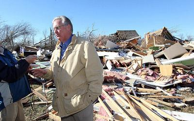 Missouri Governor Jay Nixon talks with reporters following a tour of tornado damage in Sunset Hills, Missouri on Jan. 1, 2011. Nixon has asked the president to issue a disaster declaration for the area, along with others in Missouri. (UPI/Bill Greenblatt)