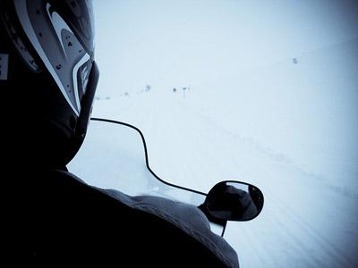 The driver's view while on a snowmobile. (via Flickr/Jonas B)