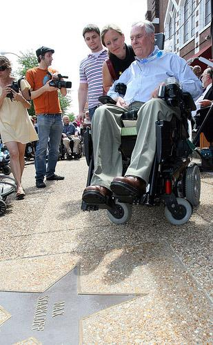 Today's show was about remembering disability rights advocate Max Starkloff, who passed away Dec. 27, 2010.  Starkloff is photographed here receiving his star on the St. Louis Walk of Fame on June 20, 2008. (UPI/Bill Greenblatt)