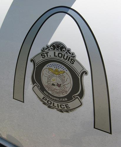 The logo of the St. Louis Metropolitan Police displayed on a patrol vehicle. (St. Louis Public Radio)