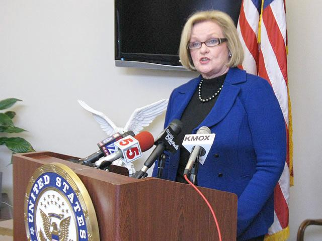 U.S. Senator Claire McCaskill speaks to reporters at her St. Louis office on Sunday. (Véronique LaCapra, St. Louis Public Radio)