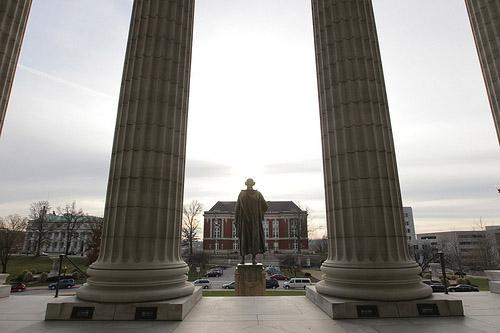 The Thomas Jefferson statue stands on the steps of the Missouri State Capitol Building in Jefferson City, Mo. on Dec. 3, 2010. (UPI/Bill Greenblatt)