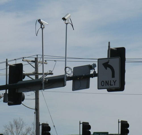 Red light cameras at an intersection in Hazelwood, Mo.