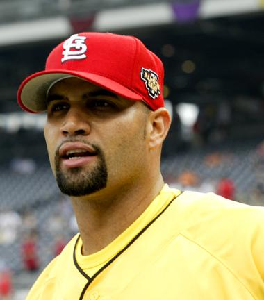 St. Louis Cardinals first baseman Albert Pujols will enter spring training on Wednesday with no deal in place with the Cardinals. (via Wikimedia Commons/ Rafael Amado)