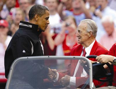 President Barack Obama and Cardinals legend Stan Musial shake hands before the 2009 All-Star Game in St. Louis. (Courtesy St. Louis Cardinals)