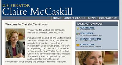 A screen capture of U.S. Senator Claire McCaskill's 2012 campaign website, ClaireMcCaskill.com. The domain name of the site was purchased from a Columbia, Mo. graphic designer. (Screen Capture of ClaireMcCaskill.com)