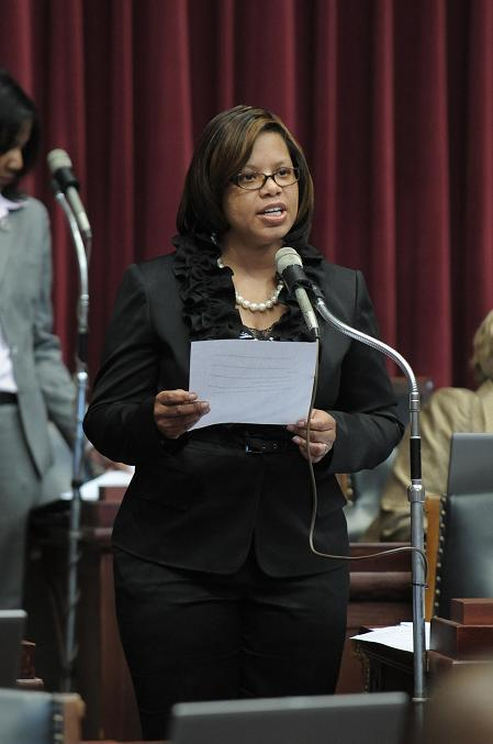 State Rep. Jamilah Nasheed (D, St. Louis) speaks on her bill to return control of the Metropolitan Police Department of St. Louis to the city.