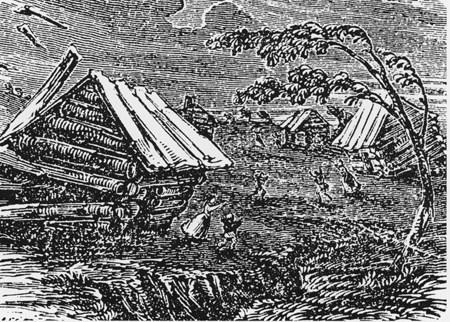 A woodcut depicting damage from the New Madrid series of earthquakes in 1811 and 1812. FEMA Administrator Craig Fugate says the threat of earthquakes on the New Madrid fault remain. (Via Wikimedia Commons)