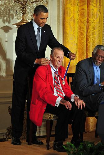 Stan Musial is presented with the Presidential Medal of Freedom by President Barack Obama at the White House on Feb. 15, 2011. (UPI/Bill Greenblatt)