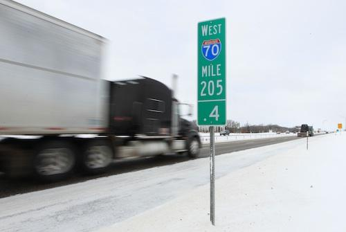 Trucks are once again rolling westbound on Highway 70 in Foristell, Mo. on Feb. 2, 2011. Highway 70 was closed due to heavy snow from Wentzville to Kansas City, Mo. on Feb. 1. (UPI/Bill Greenblatt)
