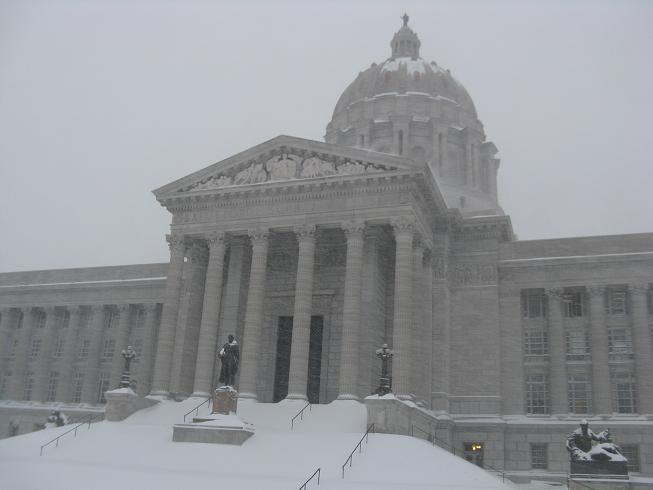 The severe winter storm dumps several inches of snow in Missouri's capital city.