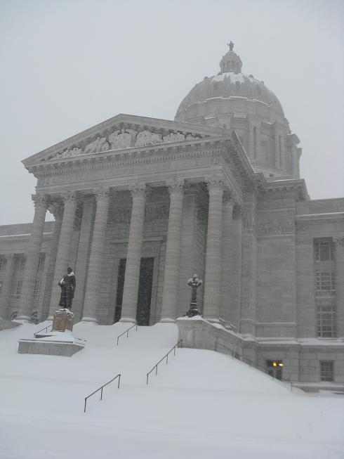 Snow drifts cover the steps leading up to the Mo. Capitol.