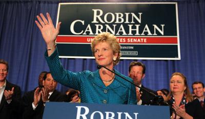 Missouri Secretary of State Robin Carnahan waves to the crowd during an election night watch party in St. Louis on Nov. 2, 2010. (UPI/Bill Greenblatt)