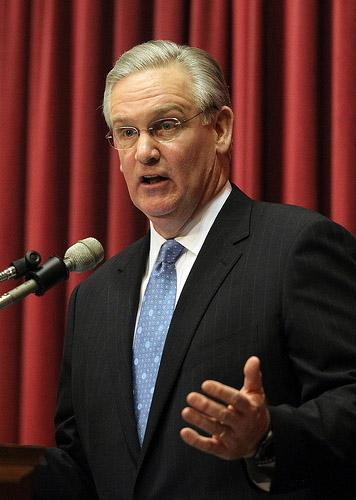 Mo. Gov. Jay Nixon during his 2011 State of the State address. Nixon said today that proposals to replace the state's income tax with an expanded sales tax is the wrong way to go. (UPI/Bill Greenblatt)