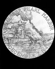 A sketched rendering of the face of the Pearl Harbor Commemorative Medal, one of eight medals awarded to a St. Louis veteran today. (via Flickr/expertinfantry)