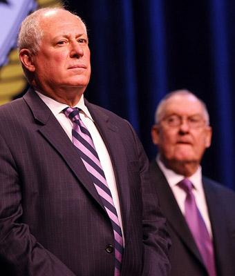 Ill. Gov. Pat Quinn, left, at his inauguration ceremony on Jan. 10, 2011. (UPI/Bill Greenblatt)
