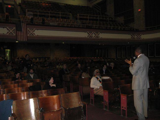 Most of the crowd at Roosevelt High School listening to Dr. Kelvin Adams discuss his ideas for the St. Louis Public Schools were with the district.