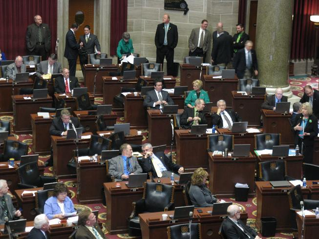 "Mo. House members during floor debate on the ""late term"" abortion bill."
