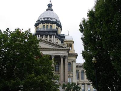 The Illinois Capitol building in Springfield, Ill.