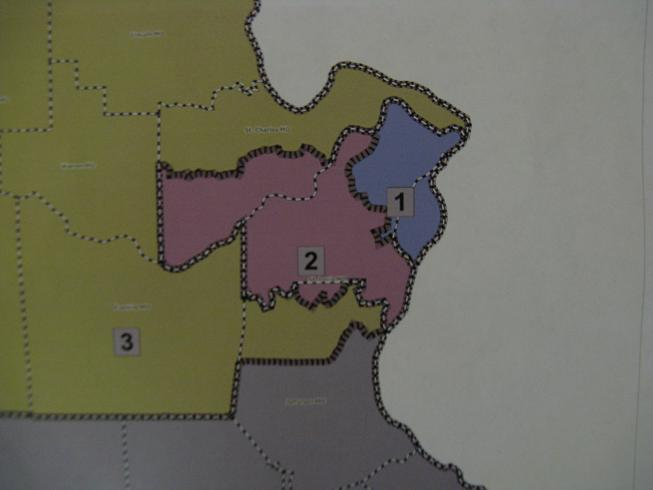 A closer view of the proposed districts for the St. Louis area.