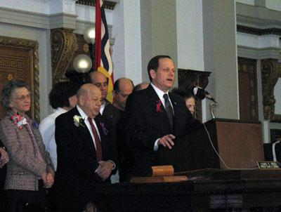 Jan. 22, 2010, the day Francis R. Slay was honored with a resolution honoring his life and work by the St. Louis City Board of Aldermen. Slay's son, current St. Louis Mayor Francis G. Slay, speaks at the podium, with Francis R. standing at left.