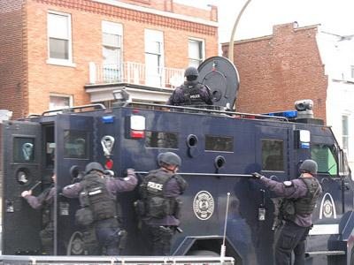 The St. Louis Police Department S.W.A.T. team on the scene of yesterday's standoff on Osage St. in St. Louis, Mo.