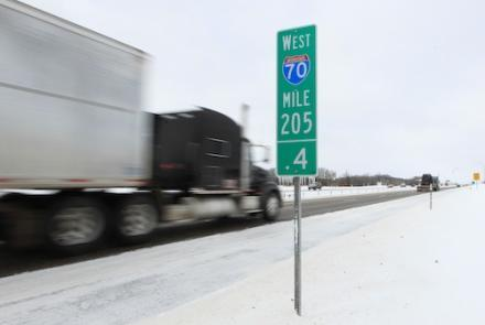 Highway 70 was closed due to heavy snow from Wentzville to Kansas City, Mo. on Feb. 1. (UPI/Bill Greenblatt)