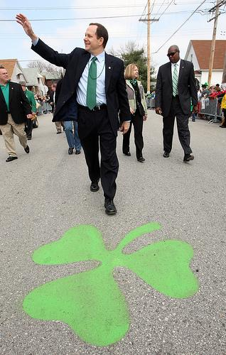 St. Louis Mayor Francis Slay waves to a crowd at last year's Ancient Order of Hibernians Saint Patrick's Day Parade in Dogtown.