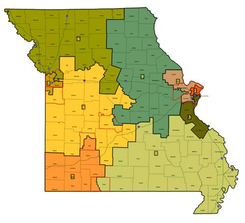 A map of Missouri's current nine congressional districts.