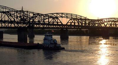 A tugboat on the Missouri River near Kansas City, Mo.