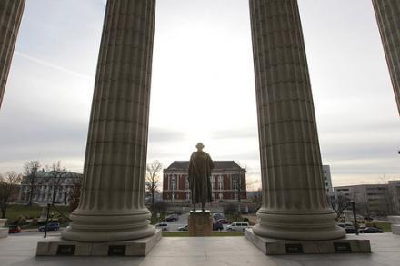The Thomas Jefferson statue stands on the steps of the Missouri State Capitol Building in Jefferson City, Mo. on Dec. 3, 2010.