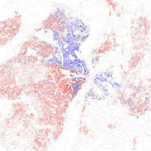 This map, using 2010 census data, gives a birds-eye view of race in St. Louis. Red is White, Blue is Black, Green is Asian, Orange is Hispanic, Gray is Other, and each dot is 25 people.